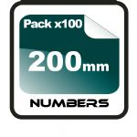 20cm (200mm) Race Numbers - 100 pack